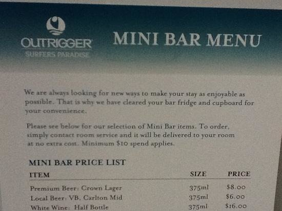 Mantra on View Hotel:                   minibar policy