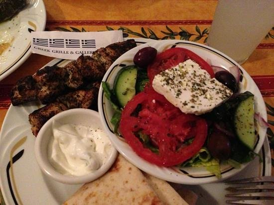 Greek Grille & Gallery:                   Grilled chicken,pita and salad