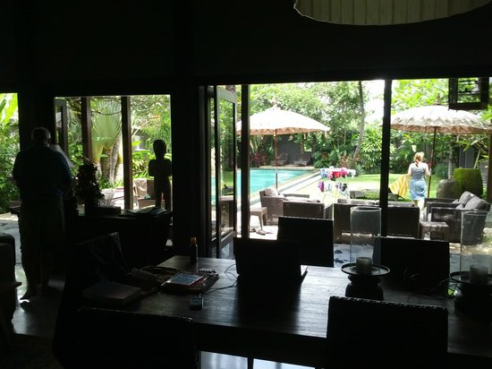 Chimera Villas:                   Inside the family house looking out from the dinning area
