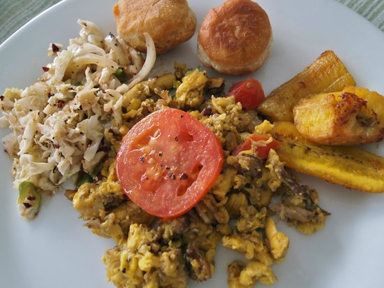 Saltfish and ackee w/ spicy cabbage for breakfast a  Ivanhoe's Guest House in