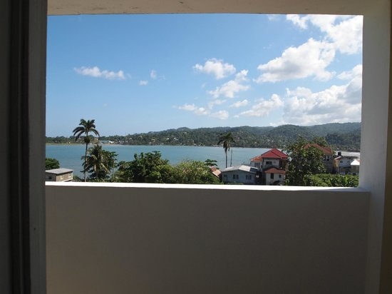 The view from the doorway to our room at Ivanhoe's Guest House in Port Antonio