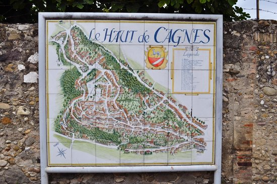 Le Haute de Cagnes village sign and map Picture of Haut de