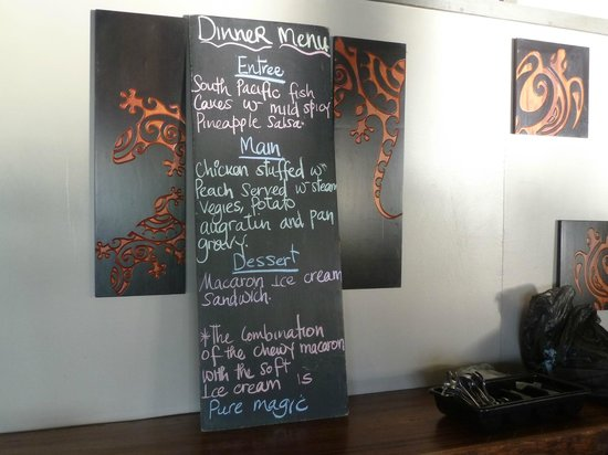 Blue Lagoon Beach Resort:                   Menu specials