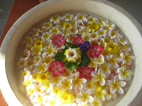 Puri Raja:                   Flower decorations at restaurant