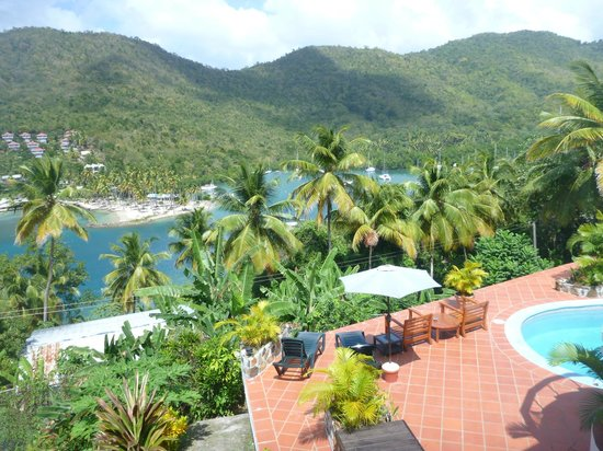 Marigot Palms Luxury Caribbean Guesthouse and Apartments:                   view across bay