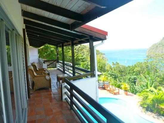 Marigot Palms Luxury Caribbean Guesthouse and Apartments:                   balcony view