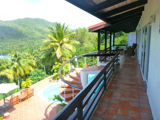 Marigot Palms Luxury Caribbean Guesthouse and Apartments:                   opposite end of balcony