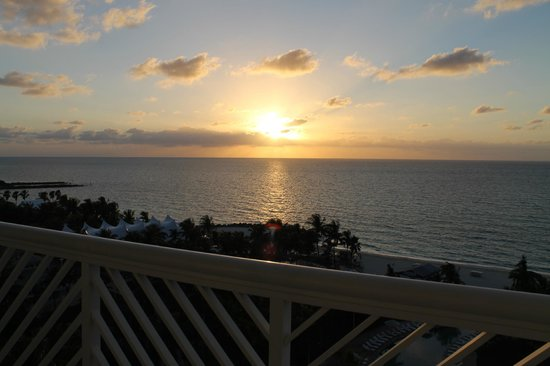 Grand Lucayan, Bahamas:                   Watching the sunrise from the balcony.