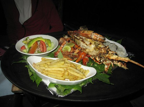 Pongwe Beach Hotel:                   Our seafood dinner down on the beach