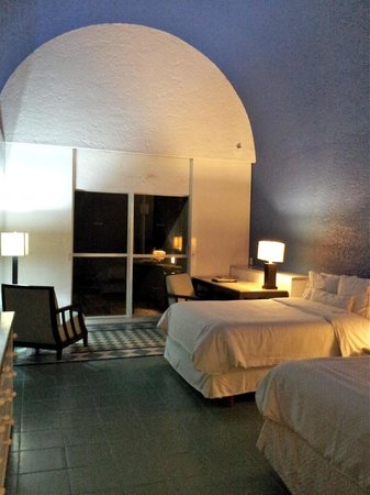 The Westin Resort & Spa, Cancun:                   Room 1145--this arched cathedral ceiling is painted an unfortunate blueberry c