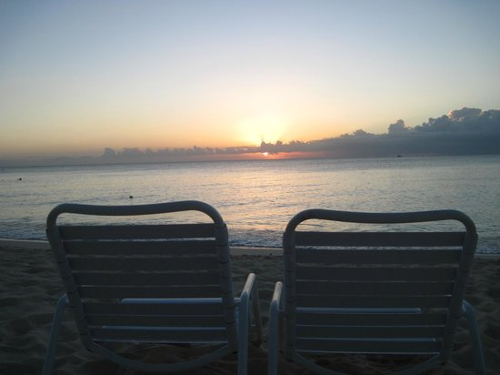 Sunshine Suites Resort:                   Sunset at Seven Mile Beach.