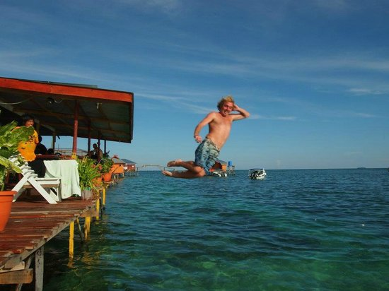 Scuba Jeff Guest House:                   Jump into the sea from Scuba Jeff's sundeck