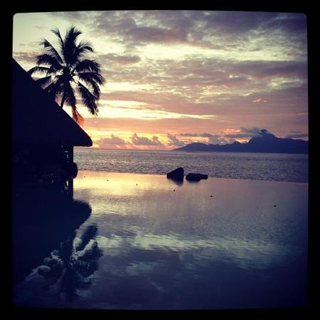 InterContinental Resort Tahiti:                   Sunset at Infinity Pool