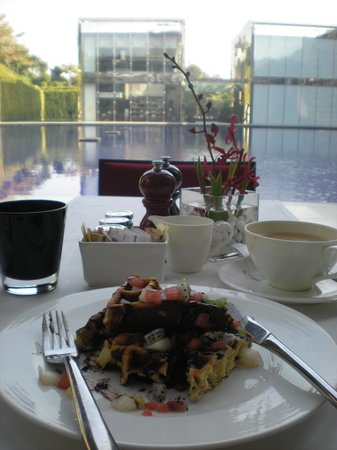 The Oberoi, Gurgaon:                   chocolate waffle for breakfast :)