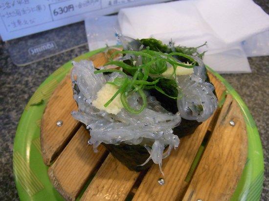 Uoiso:                   魚磯の生しらすの軍艦巻き