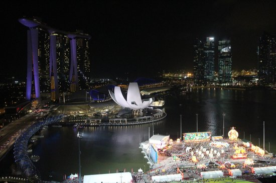 The Ritz-Carlton, Millenia Singapore:                   View of the Marina Bay area at night.