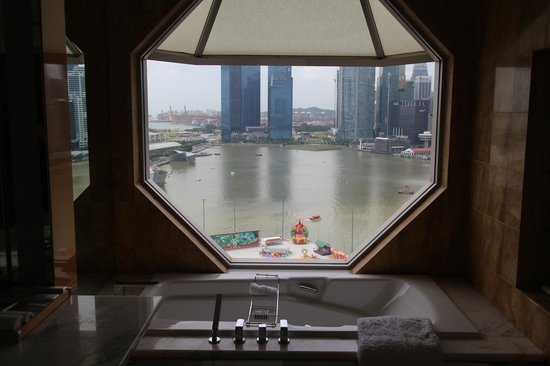 The Ritz-Carlton, Millenia Singapore:                   View looking out from the bathroom.