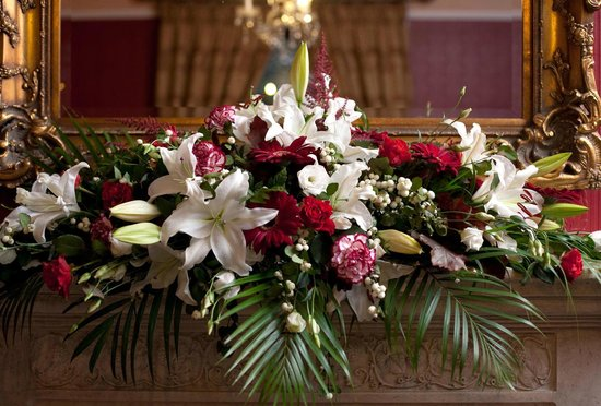 Pendragon Country House: Wedding Flowers Decorate the Red Room