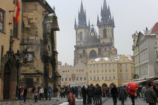 Castle Residence Praha :                                     Old Town Astronomical Clock and St Salvator church