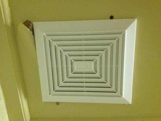 Hotel Quebec Inn:                   ceiling fan not installed properly causing ceiling to fall apart around it.