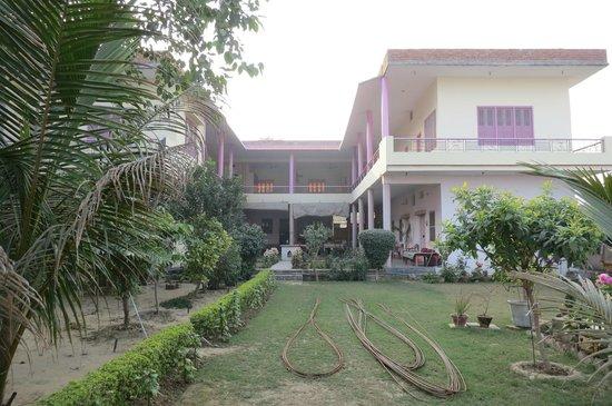 The Yoga Mandir:                   Sri Yoga Mandir and its green garden