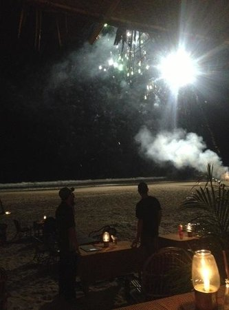 Big bamboo bar and restaurant:                   enjoying the fireworks