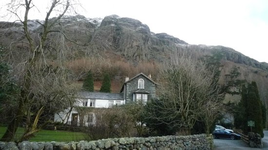 The Old Dungeon Ghyll Hotel:                   View from the road
