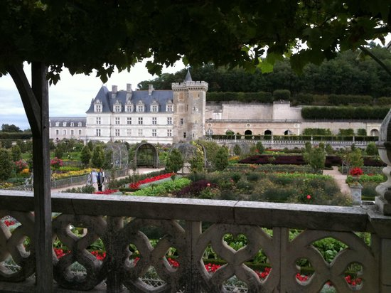 Chateau de Villandry:                   View of the Potager and Castle from the tunnel of Vines.