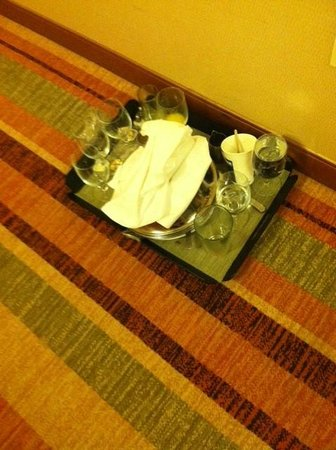 Hilton Baltimore:                   Dirty dishes outside the room and they were NOT OURS