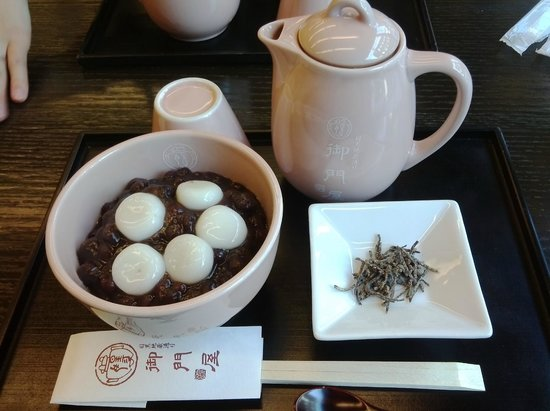 Mikadoya:                   つめたい白玉ぜんざい 塩コンブとほうじ茶で