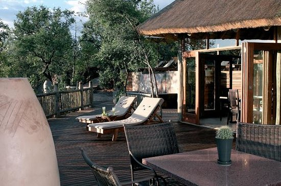 Etali Safari Lodge: The communal deck overlooks our waterhole and hosts dinners.