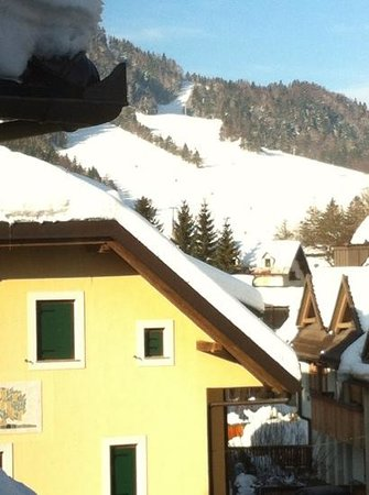 Hotel Kotnik:                   View from bedroom over ski slopes