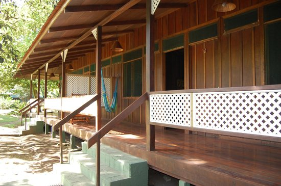Mawamba Lodge:                   Typical lodgings with veranda and hammock