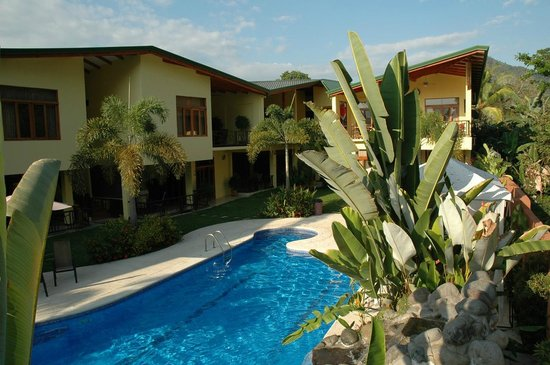 Our swimming pool and condominiums. Club del Cielo Condo hotel at Jaco beach, Costa Rica