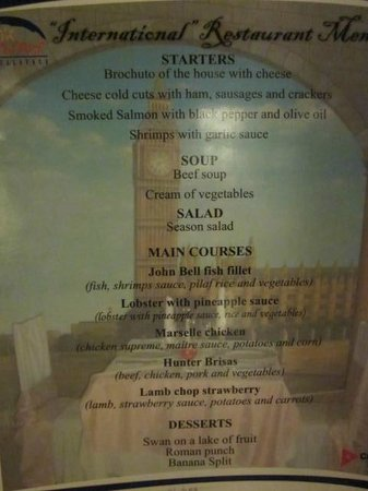 Brisas Guardalavaca Hotel:                                     International Restaurant Menu