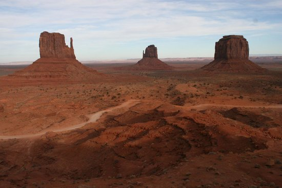 Monument Valley Navajo Tribal Park:                   West Mitten, East Mitten and Merrick Buttes