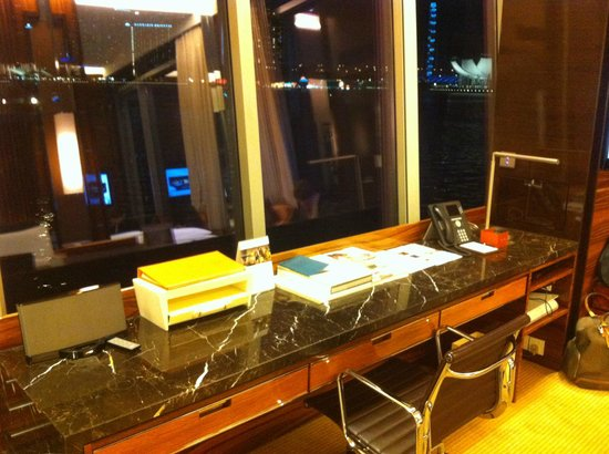 The Fullerton Bay Hotel Singapore:                   desk overlooking the bay