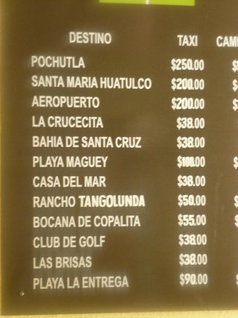 Barcelo Huatulco:                   Taxi prices from hotel (pesos)