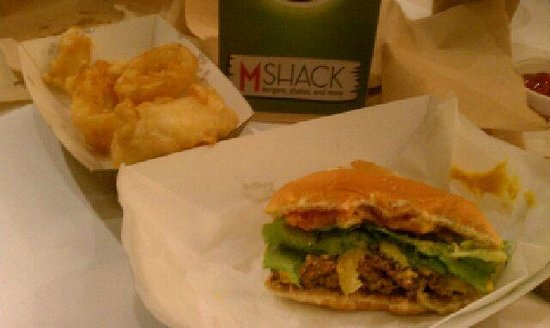 M Shack :                   M Burger and onion rings