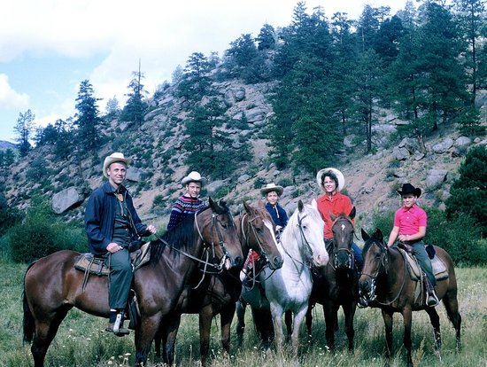 Lost Valley Ranch:                   Lost Valley family ride in the meadow 1962