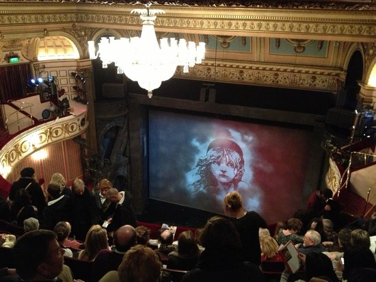 Les Miserables London:                   The view from row G - upper circle