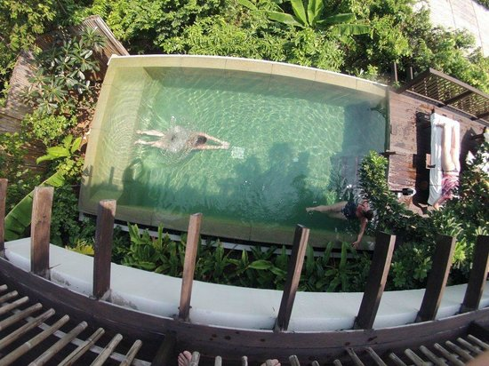 Six Senses Samui:                   villa 54 - our private infinity pool, from bedroom level, overlooking sea