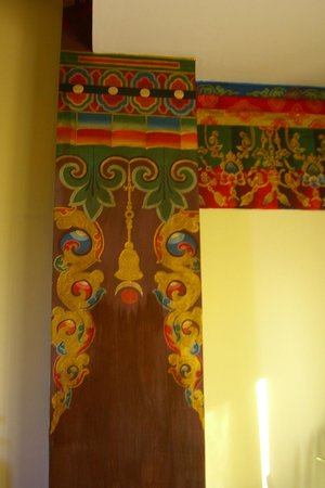 Hotel Tibet International:                   Traditional Tibetan hand painting in our room