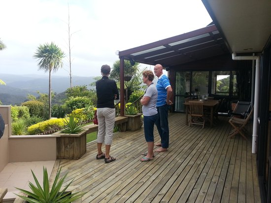 Wairere Lodge:                   Front deck with view - my sister and hosts, Heather & Bob