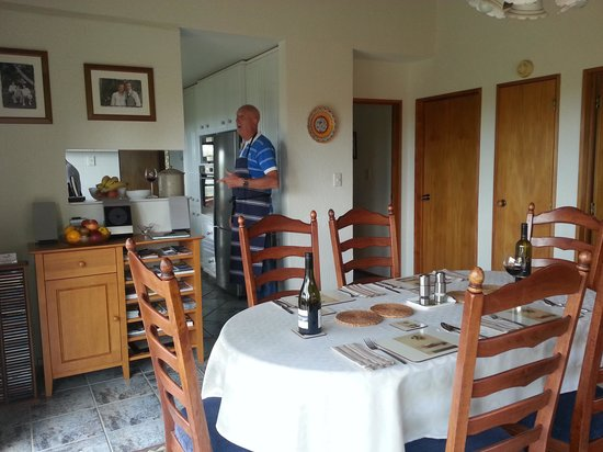 Wairere Lodge:                   Dining room & host Bob