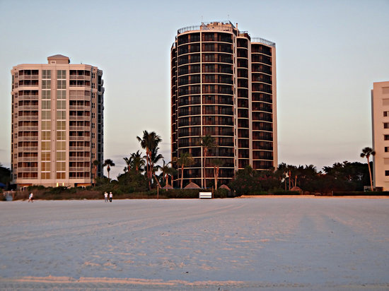 Pointe Estero Resort:                   view of resort from the beach