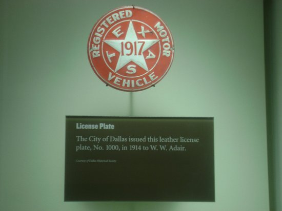Old Red Museum:                                     1917 Texas car plate display