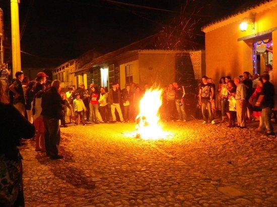 Hostal El Tayaba:                                     New Year's Eve festivities across the street