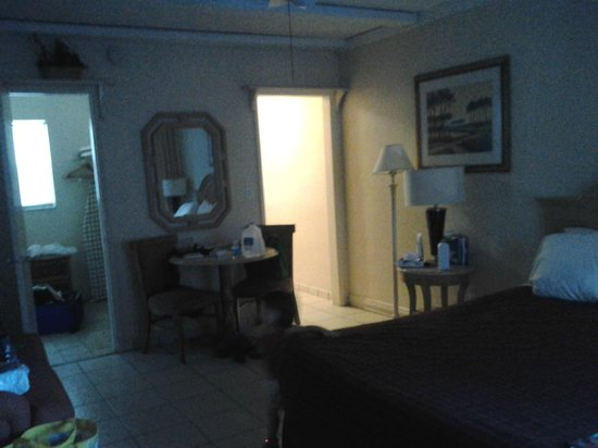 A Little Inn By The Sea :                   spacious room. bathroom to the left, kitchen to the right.  the mess is ours ;