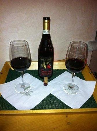 Agriturismo Costa degli Ulivi:                   vino in camera AMARONE